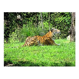 Pintura majestuosa del tigre que se sienta tarjetas postales