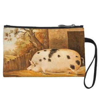 Pintura manchada cerdo de la granja del vintage de