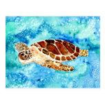 pintura marina de la acuarela del sealife de la to postal