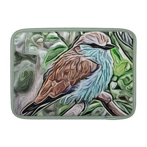 pintura marrón y azul del pájaro fundas macbook air