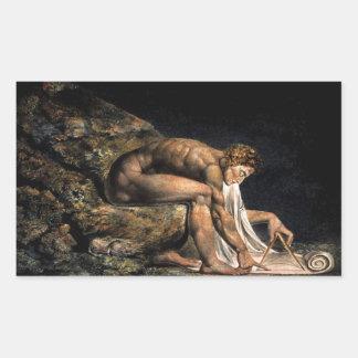 Pintura masónica de Newton Guillermo Blake Rectangular Pegatinas