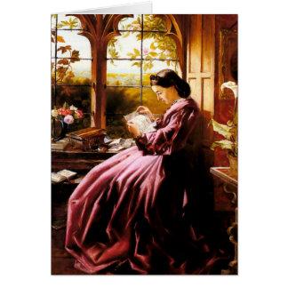 Pintura medieval de señora Reading Letter Tarjeta De Felicitación