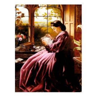 Pintura medieval de señora Reading Letter Postal