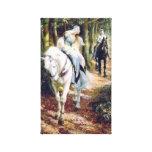 Pintura medieval del caballero del caballo blanco  lienzo envuelto para galerias