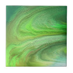 Pintura metálica del verde del arte abstracto azulejo cuadrado pequeño