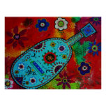 Pintura mexicana de la guitarra del arte popular impresiones