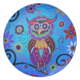 Pintura mexicana del búho de Talavera Plato