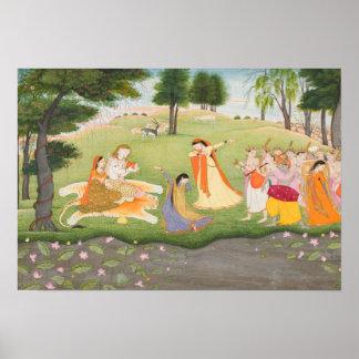 Pintura miniatura de Shiva y de Parvati Poster
