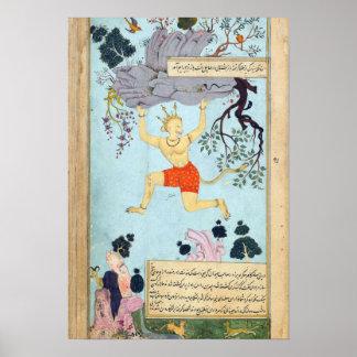 Pintura miniatura india de Ramayana Póster
