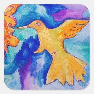 Pintura moderna de la bella arte del pájaro de Sun Pegatina Cuadrada