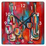 Pintura moderna de las botellas y de los vidrios reloj cuadrado