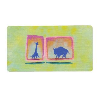 Pintura moderna del arte original del búfalo y de etiqueta de envío