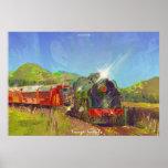 Pintura moderna del tren del vapor de NZ en un pos Poster