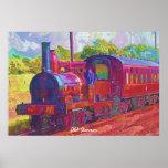 Pintura moderna del tren del vapor del vintage en  impresiones