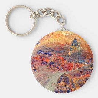 Pintura: Montañas y cascada: Llavero Redondo Tipo Pin