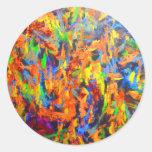 Pintura multicolora colorida brillante del arte etiquetas redondas