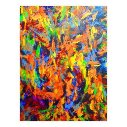 Pintura multicolora colorida brillante del arte postales