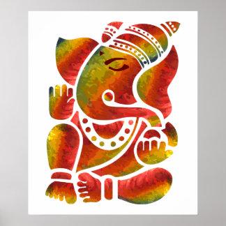 Pintura multicolora de Ganesha Póster