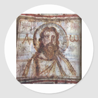 Pintura mural de la catacumba de Commodilla. Etiquetas Redondas