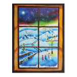 Pintura mural de la pared de la ventana del invier tarjeta postal