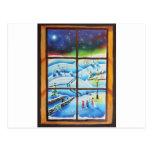 Pintura mural de la pared de la ventana del invier postales