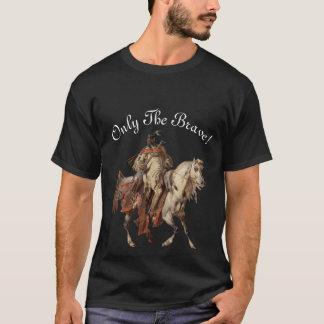 Pintura, nativo americano valiente y caballo del playera