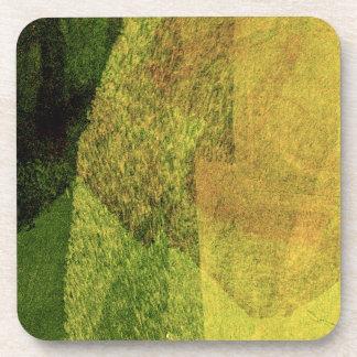 Pintura negra amarilla verde del extracto del posavaso