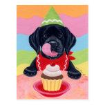 Pintura negra de la magdalena del cumpleaños del p tarjeta postal