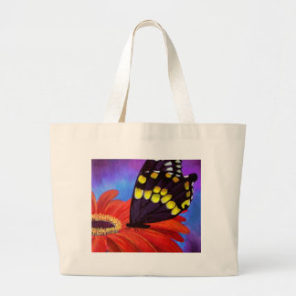 Pintura negra de la margarita de la mariposa - mul bolsa lienzo