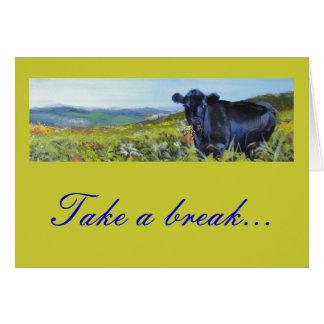 pintura negra de la vaca y de paisaje tarjeta de felicitación