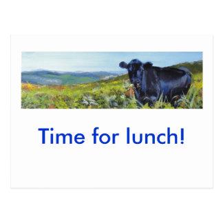 pintura negra de la vaca y de paisaje tarjeta postal