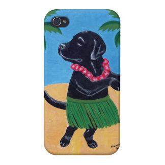 Pintura negra de Labrador de la hawaiana iPhone 4/4S Carcasa