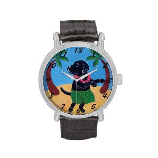 Pintura negra de Labrador de la hawaiana Relojes De Pulsera