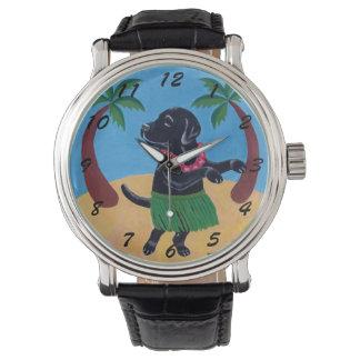 Pintura negra de Labrador de la hawaiana Reloj