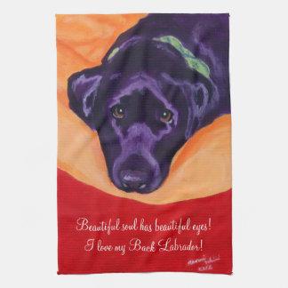 Pintura negra de Labrador Toallas De Mano
