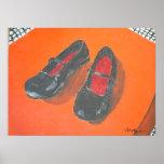 Pintura negra de los zapatos impresiones
