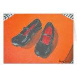 Pintura negra de los zapatos tarjetón