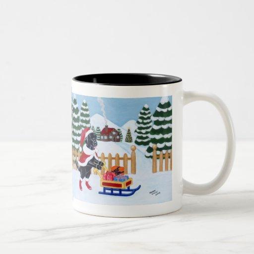 Pintura negra de Santa del navidad de Labrador Tazas De Café
