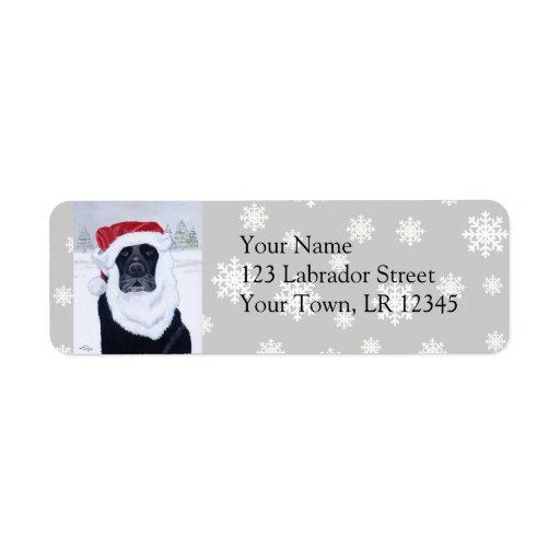Pintura negra del gorra de Santa del navidad de La Etiqueta De Remite