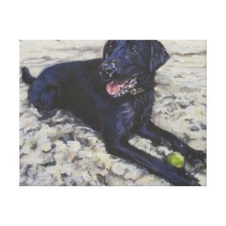 Pintura negra del perro de la bella arte del