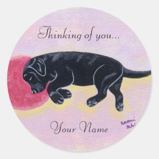 Pintura negra el dormir de Labrador Pegatinas