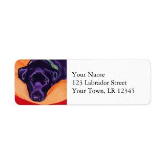 Pintura negra el mirar fijamente de Labrador Etiquetas De Remite