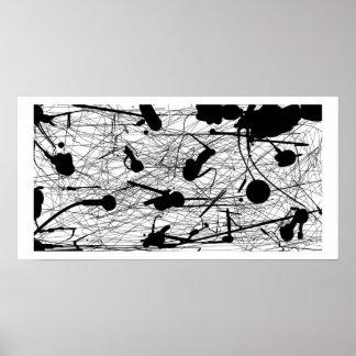 Pintura negra original de la salpicadura poster