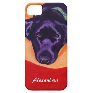 Pintura negra personalizada de Labrador iPhone 5 Fundas