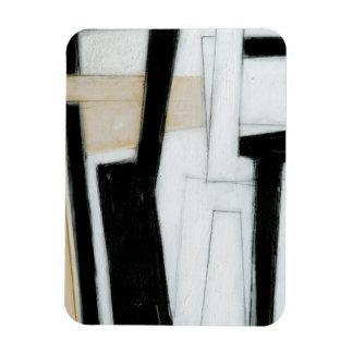 Pintura negra y blanca abstracta imán