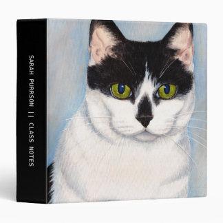 """Pintura negra y blanca de ojos verdes del gato carpeta 1 1/2"""""""