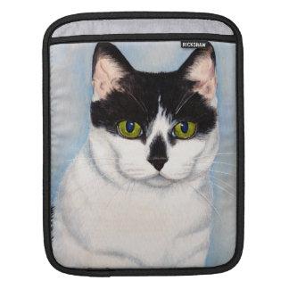 Pintura negra y blanca de ojos verdes del gato mangas de iPad