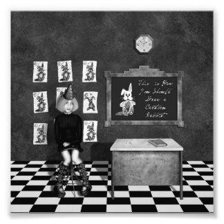 Pintura negra y blanca del estudiante de arte en s arte con fotos