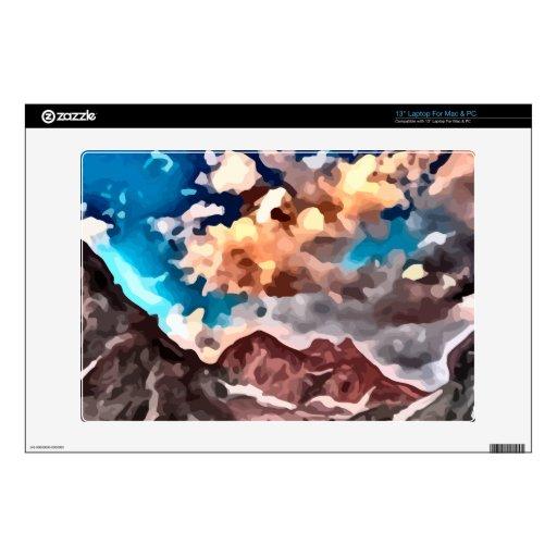 pintura nublada del pico de montaña del día 33cm portátil calcomanía