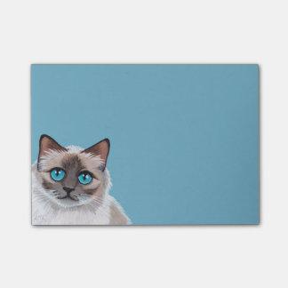Pintura observada azul del retrato del gato de notas post-it®